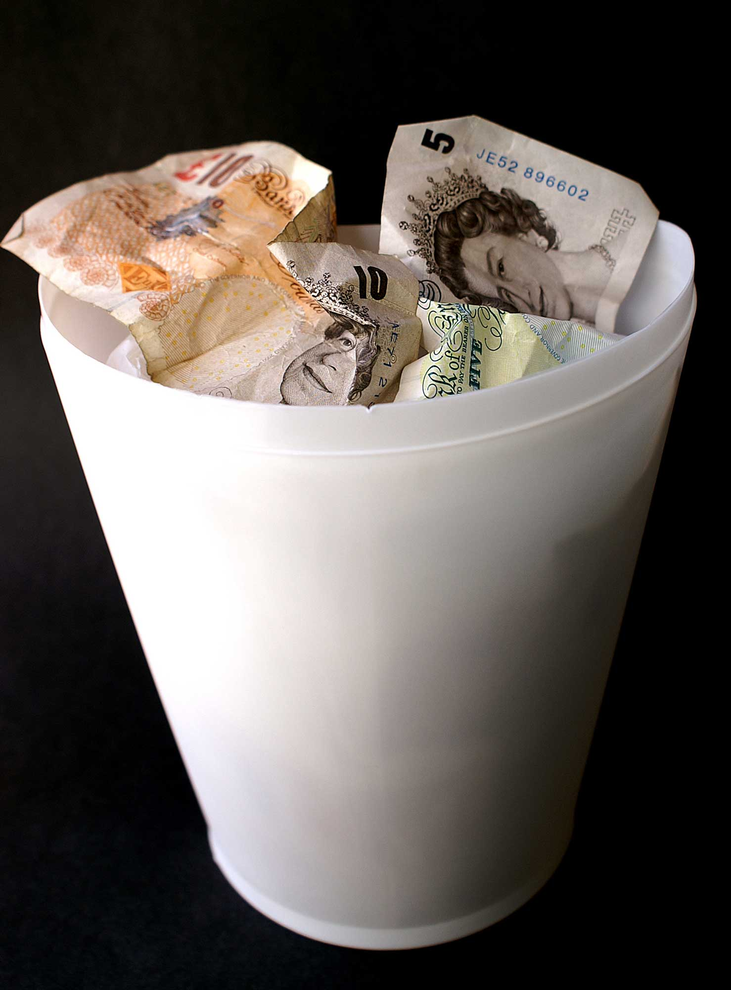 money in bin